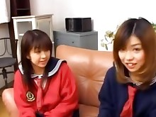 18-21 brunette couch japanese uniform