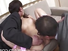 brunette bus cumshot horny hot japanese milf office