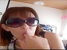 japanese wife blowjob fuck glasses ass